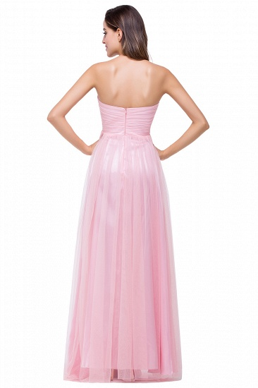 Affordbale A-line Tulle Sweetheart Ruffle Pink Bridesmaid Dress Online In Stock_3