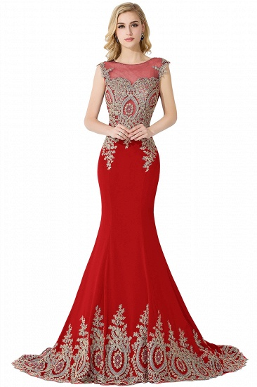 BMbridal Mermaid Court Train Chiffon Evening Dress with Appliques_2
