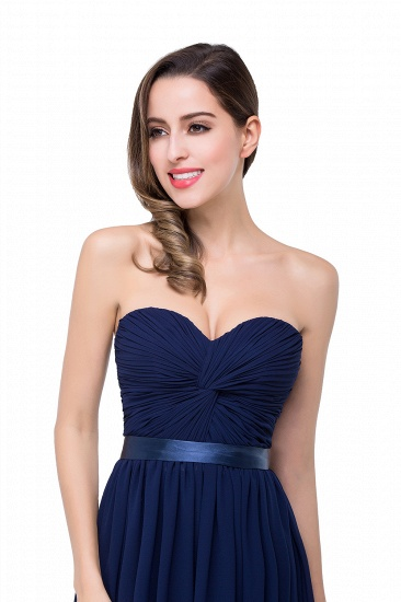 BMbridal Affordable Chiffon Strapless Navy Bridesmaid Dress with Ruffle In Stock_10