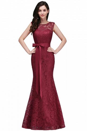 BMbridal Ribbon Sash Floor-length Sleeveless Lace Mermaid Evening Dress_2