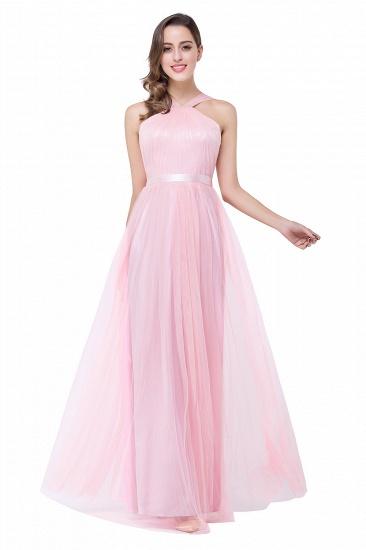 BMbridal Sheath Pink Tulle Ribbon Sash Simple Bridesmaid Dress_8