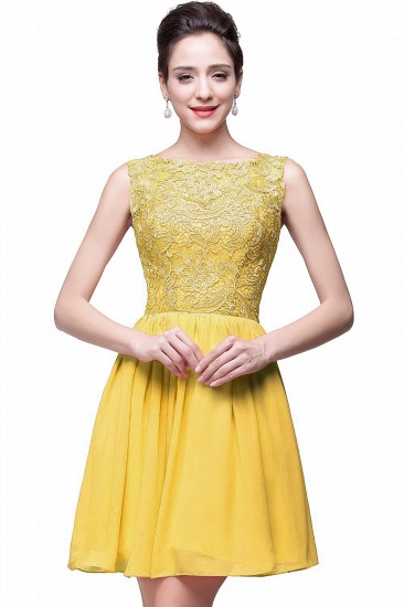 Affordable Chiffon Lace Short Bridesmaid Dresses with Ruffle In Stock_2
