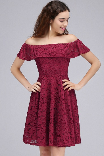 BMbridal A-Line Off-the-shoulder Lace Burgundy Homecoming Dress_7