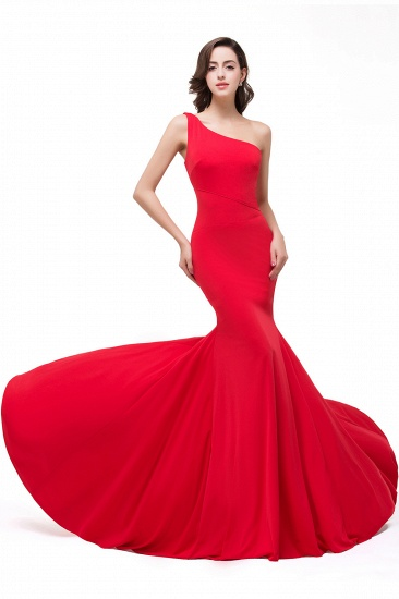 BMbridal Red One-Shoulder Floor Length Mermaid Prom Dress_1