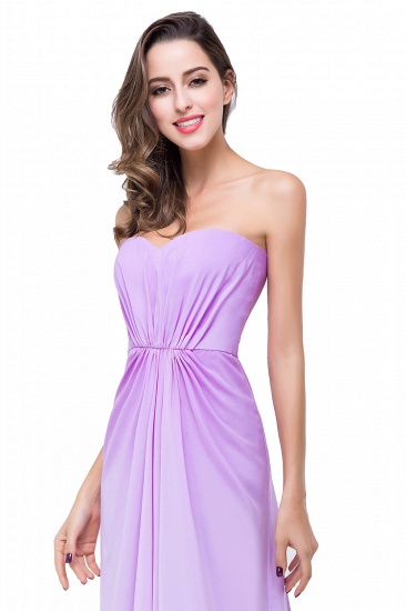 Gorgeous A-line Strapless Lilac Chiffon Bridesmaid Dress Cheap In Stock_5