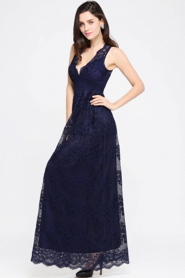 Chic Sheath V-Neck Navy Lace Bridesmaid Dresses Online In Stock_12