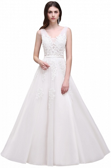 BMbridal V-Neck Sleeveless Lace Appliques Bridesmaid Dress_1