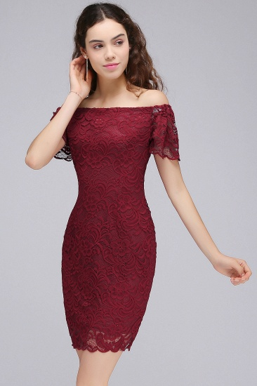 BMbridal Burgundy Lace Sheath Homecoming Dress Short Sleeves Cocktail Dress_5