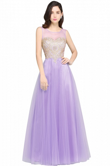 BMbridal Gorgeous Illussion Scoop Long Prom Dress With Lace Appliques_3