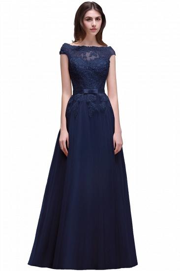 BMbridal Cap Sleeve Lace Appliques Long Evening Dress_5