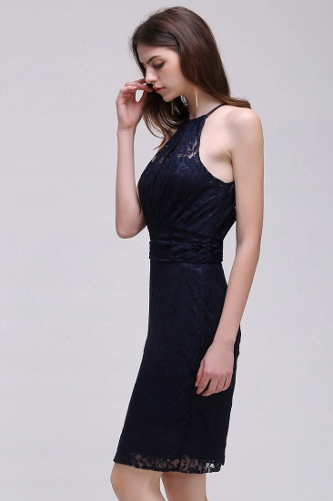 BMbridal Elegant Halter Lace Sheath Short Prom Dress_6