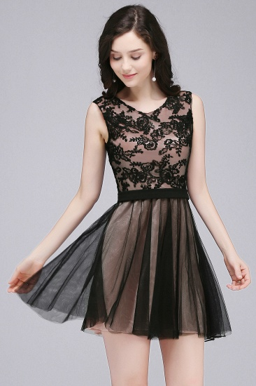BMbridal Short Lace Appliques Tulle Sleeveless Prom Dress_5