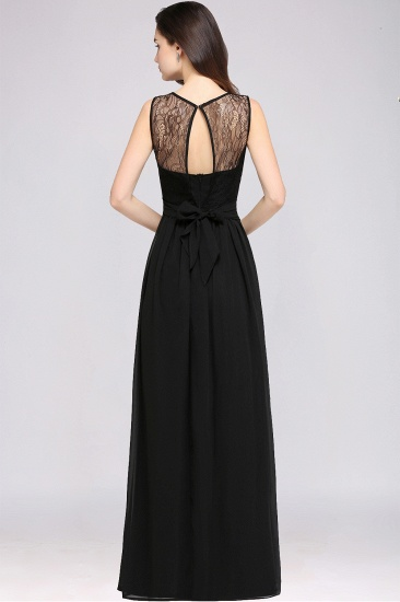Sexy Black Chiffon Lace Long Cheap Bridesmaid Dresses In Stock_8