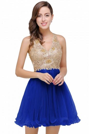 BMbridal Short Tulle A-line V-Neck Appliques Sleeveless Prom Dress_2