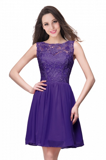 Affordable Chiffon Lace Short Bridesmaid Dresses with Ruffle In Stock_3