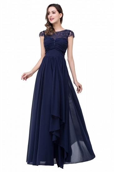 BMbridal A-line Ruffles Ribbon Bow Capped Lace Chiffon Bridesmaid Dress_17