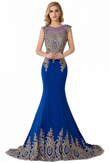 BMbridal Mermaid Court Train Chiffon Evening Dress with Appliques_4