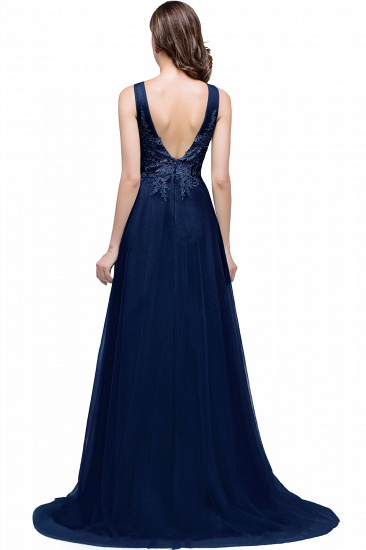 BMbridal A-line Court Train Tulle Evening Dress with Appliques_6