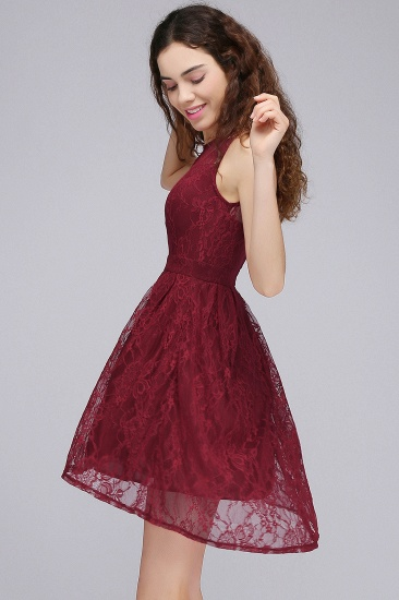 BMbridal A-Line Round Neck Short Lace Burgundy Homecoming Dress_3