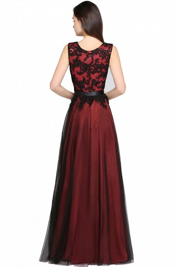 BMbridal Pretty Sleeveless Black Lace Tulle Floor Length Formal Evening Dress with Sash_8