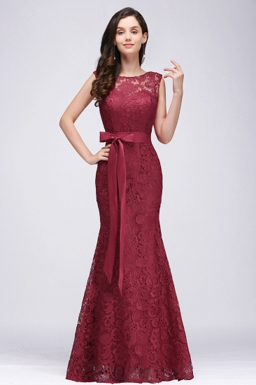 BMbridal Ribbon Sash Floor-length Sleeveless Lace Mermaid Evening Dress