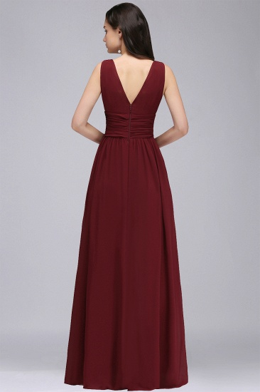 BMbridal Affordable Chiffon V-Neck Burgundy Bridesmaid Dress with Ruffle In Stock_10