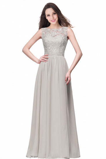BMbridal Affordable A-line Chiffon Crew Lace Navy Long Bridesmaid Dresses In Stock_8