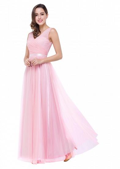 BMbridal A-line Ruffled Tulle Sleeveless Ribbon Sash V-neck Bridesmaid Dress_12