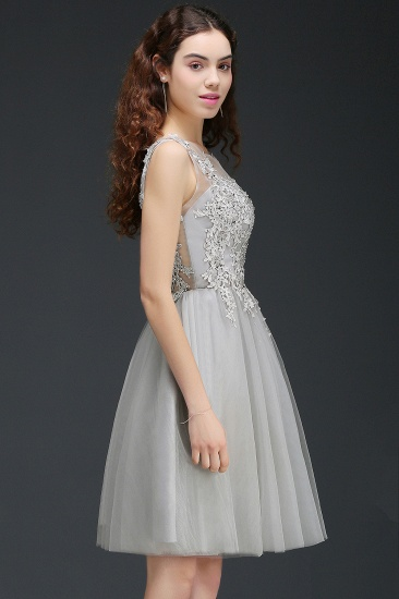 BMbridal Newest Lace Appliques Silver Jewel Sleeveless Short Homecoming Dress_7