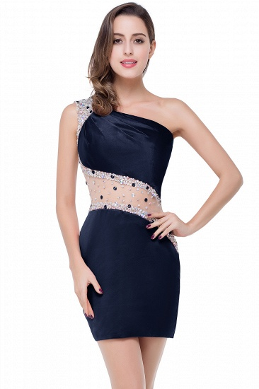 BMbridal Crystal Beading One-shoulder Short Mermaid Prom Dress_4