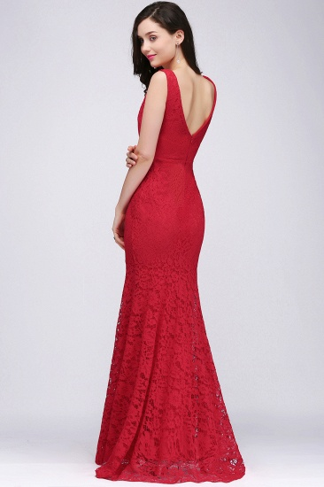 BMbridal Stunning Short Red Lace Mermaid Prom Dress_3
