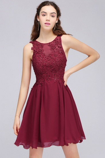 BMbridal Burgundy A-line Homecoming Dress with Lace Appliques_10