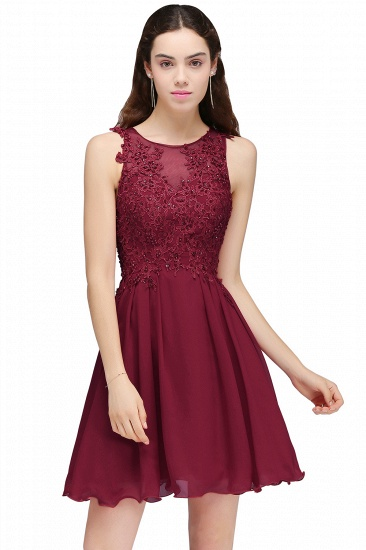 BMbridal Burgundy A-line Homecoming Dress with Lace Appliques_3