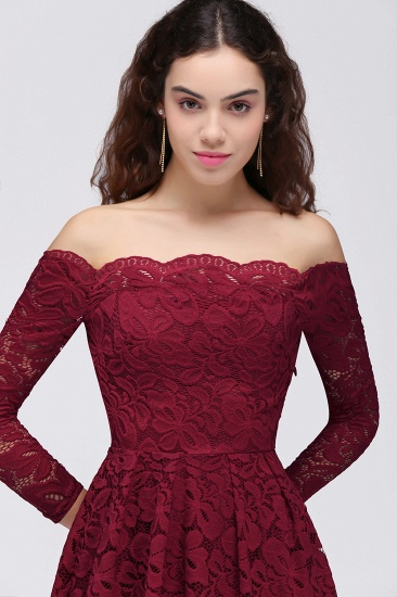 BMbridal A-Line Off-the-Shoulder Short Lace Burgundy Homecoming Dress_8