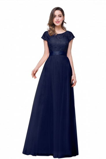 BMbridal Short Sleeve Long Lace Bridesmaid Dresses_4