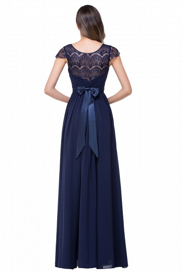 BMbridal A-line Ruffles Ribbon Bow Capped Lace Chiffon Bridesmaid Dress_4