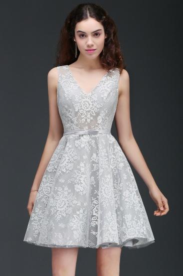 BMbridal Designer V Neck A Line Sheer Lace Short Homecoming Dress_1