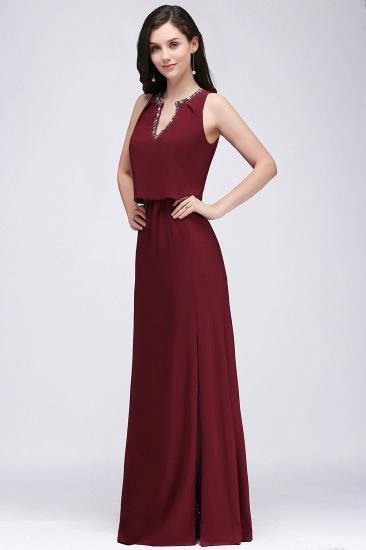 BMbridal Front-split Crystal Floor-length V-neck Sleeveless Burgundy A-line Evening Dress_1