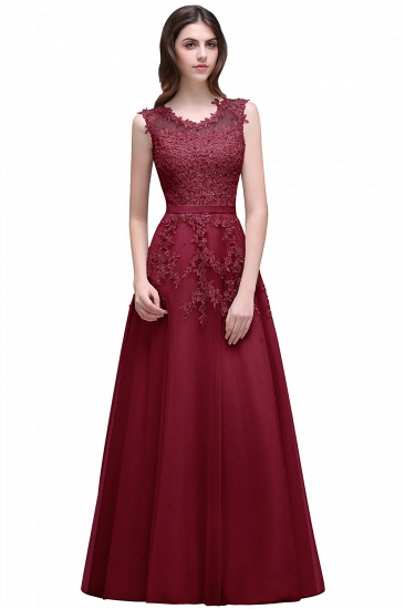 BMbridal A-line Floor-length Tulle Prom Dress with Appliques_3
