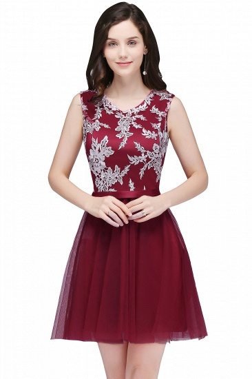 BMbridal Pink Short Homecoming Dress with Lace Appliques_2