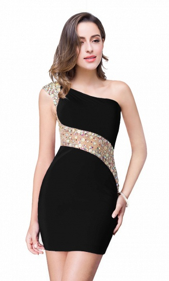 BMbridal Crystal Beading One-shoulder Short Mermaid Prom Dress_5