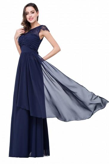 BMbridal A-line Ruffles Ribbon Bow Capped Lace Chiffon Bridesmaid Dress_13