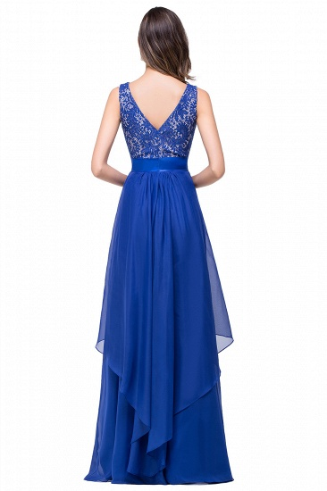 Exquisite A-line Chiffon Royal Blue Bridesmaid Dress with Lace In Stock_6