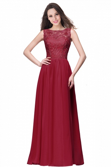 BMbridal Affordable A-line Chiffon Crew Lace Navy Long Bridesmaid Dresses In Stock_3