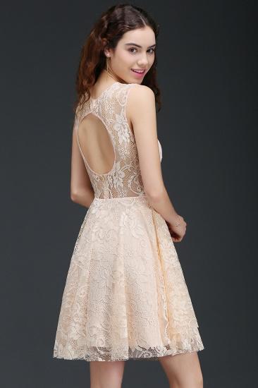 BMbridal Modern Lace Pearl Pink Illusion Sleeveless Short Homecoming Dress_2