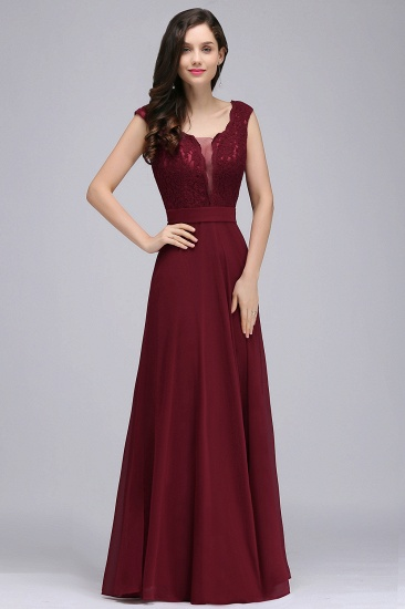 BMbridal Elegant Lace A-line Long Burgundy Prom Dress_2