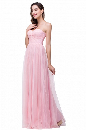 Affordbale A-line Tulle Sweetheart Ruffle Pink Bridesmaid Dress Online In Stock_4