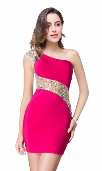 BMbridal Crystal Beading One-shoulder Short Mermaid Prom Dress_3