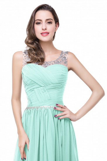 BMbridal A-line Court Train Chiffon Party Dress With Beading_10