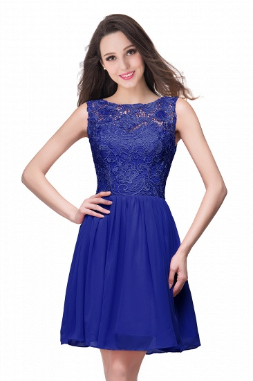 Affordable Chiffon Lace Short Bridesmaid Dresses with Ruffle In Stock_5
